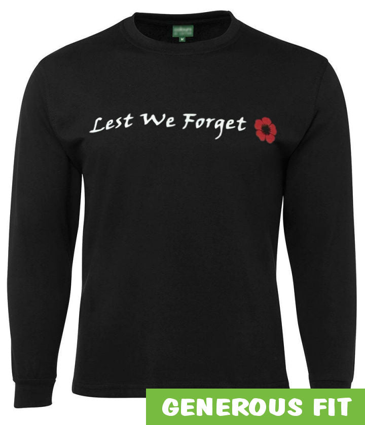 Lest We Forget (Red Poppy) Longsleeve T-Shirt (Black)