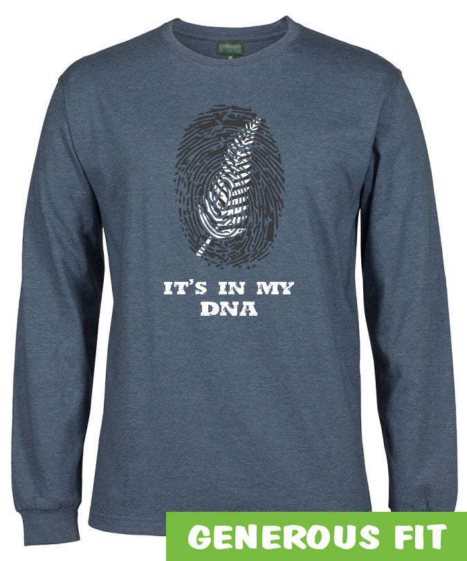 Silver Fern In My DNA Longsleeve T-Shirt (Denim Marle)