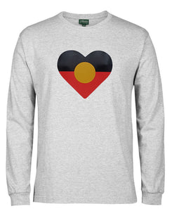Heart Shape Aboriginal Flag Longsleeve T-Shirt (Snow Grey) - Generous Fit