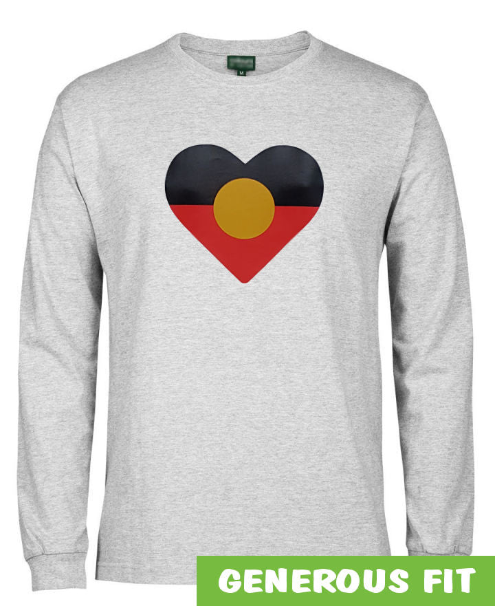 Heart Shape Aboriginal Flag Longsleeve T-Shirt (Snow Grey)