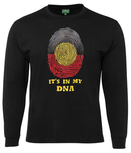 Aboriginal Flag In My DNA Longsleeve T-Shirt (Black) - Loose Fit