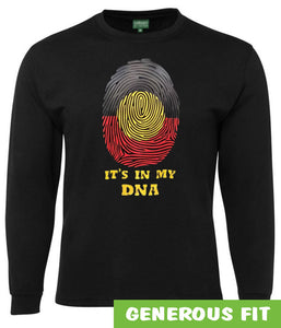 Aboriginal Flag In My DNA Longsleeve T-Shirt (Black)