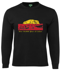 50,000 Years of Culture Aboriginal Longsleeve T-Shirt (Black) - Loose Fit