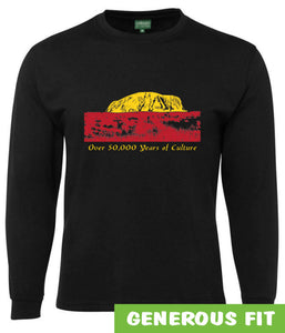 50,000 Years of Culture Aboriginal Longsleeve T-Shirt (Black)