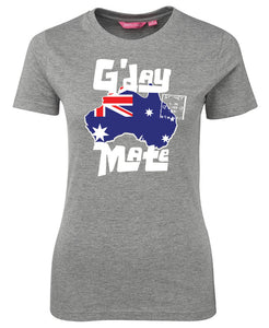 G'day Mate Map Ladies T-Shirt (Grey)