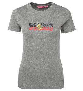 Deadly Aboriginal Flag Ladies T-Shirt (Grey)