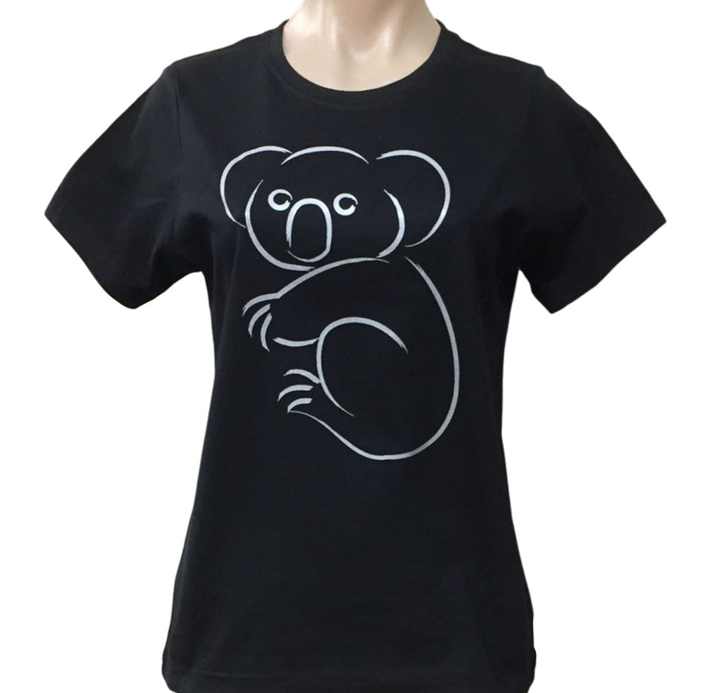 Silver Koala Ladies T-Shirt (Black)