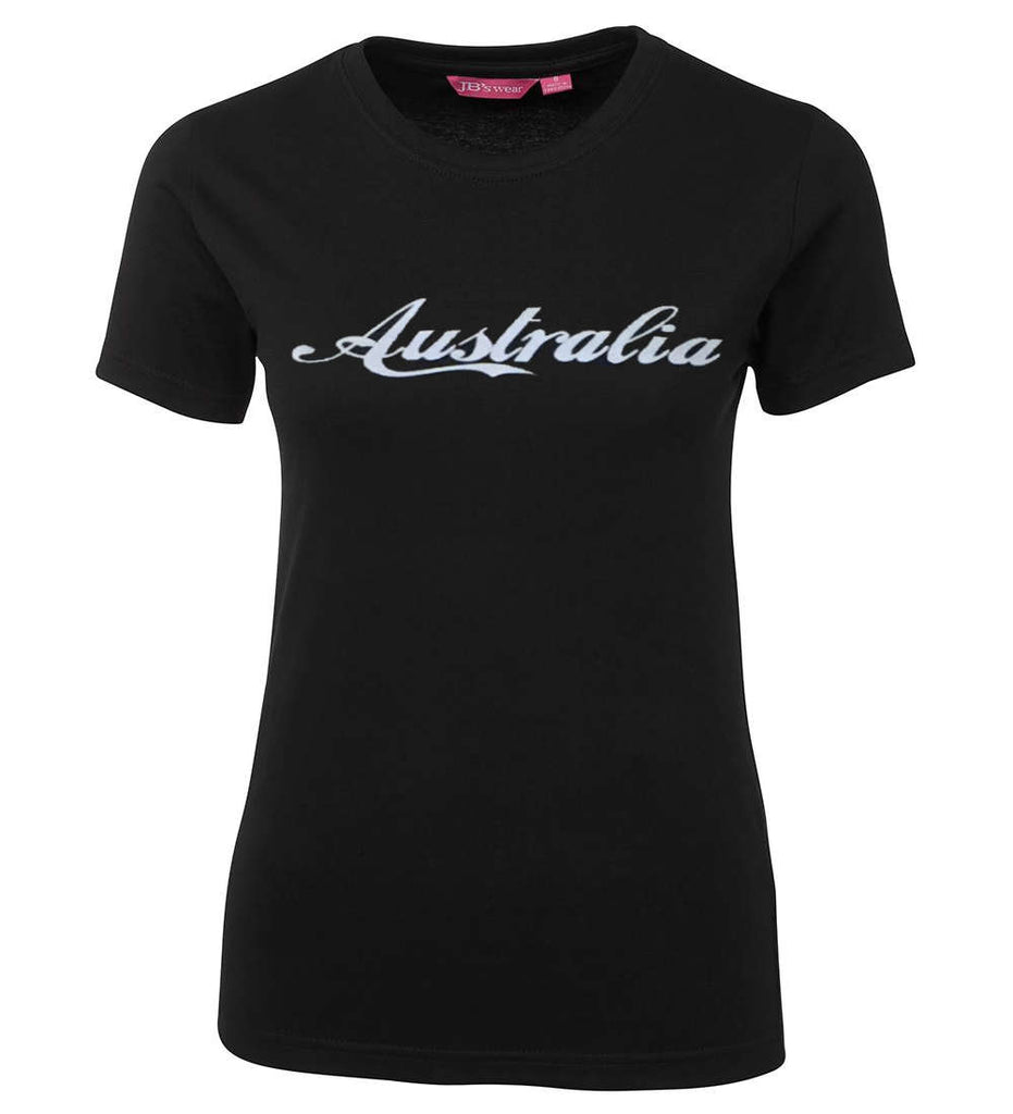 Australia Silver Ladies T-Shirt (Black, Metallic Silver Print)