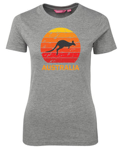 Kangaroo Sunset Ladies T-Shirt (Grey)
