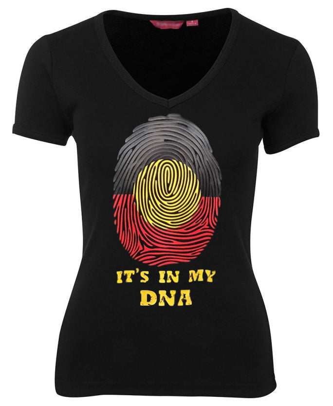 Aboriginal Flag In My DNA Ladies V-Neck Fitted Tee (Black)