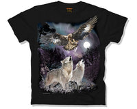 Spirits of the Wild Wolf & Eagle T-Shirt (Black)