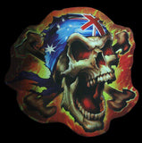 Rebel Skull Aussie Flag Chrome Sticker - Hot Stuff Merchandise