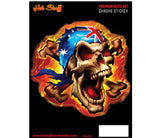 Rebel Skull Aussie Flag Chrome Sticker