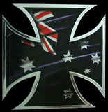 Australian Iron Cross Chrome Sticker - Hot Stuff Merchandise