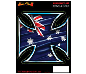 Australian Iron Cross Chrome Sticker