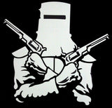Ned Kelly Helmet & Guns Chrome Sticker (13.5cm x 13cm)