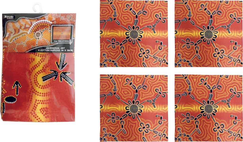 Tribal Gatherings Aboriginal Art Cotton Napkins (Pack of 4)