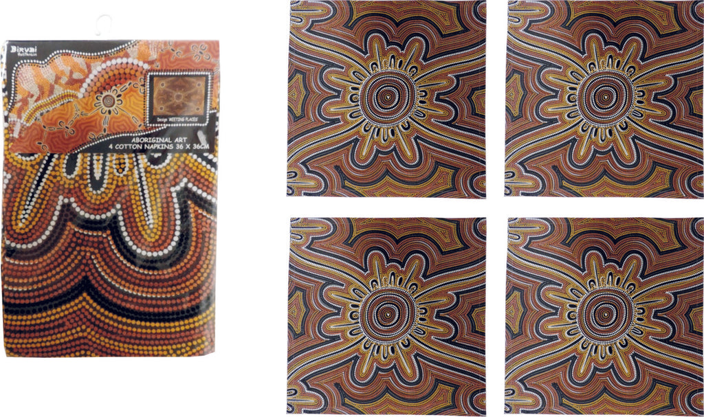 Meeting Places Aboriginal Art Cotton Napkins (Pack of 4)