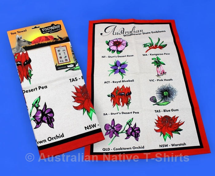 Australian State Wildflowers Souvenir Tea Towel