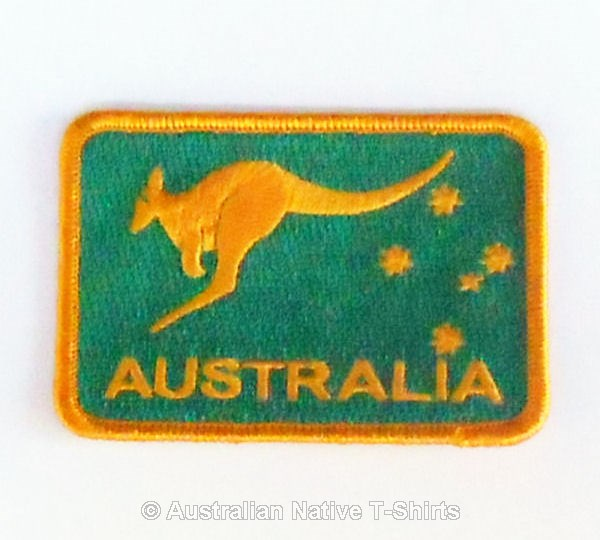 Kangaroo Green & Gold Iron On Woven Patch
