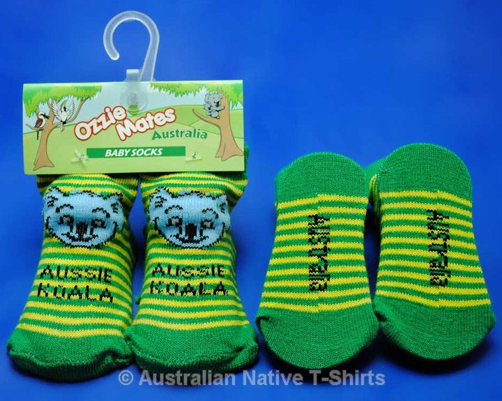 Koala Face Baby Socks (Green/Yellow  0-6 Months)
