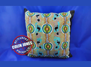Feet Green Aboriginal Cushion Cover