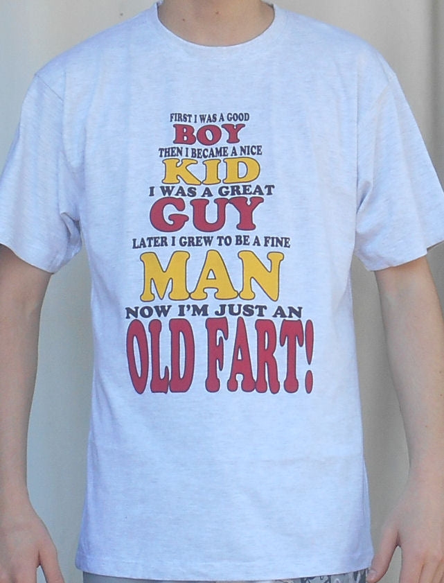Size Medium - Old Fart T-Shirt (Lt Grey) - Free Shipping Sale