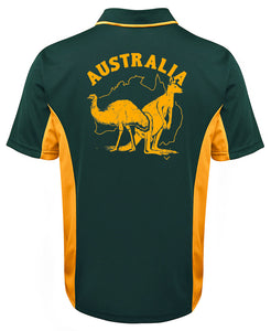 Australia Kangaroo and Emu Polo (Green with Gold Sides) - Back Print