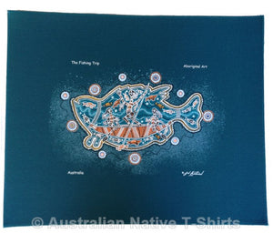 Aboriginal Fishing Trip Wallhanging (Teal)