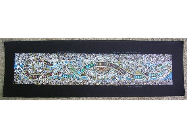 Rainbow Serpent Aboriginal Art Wallhanging (Black)