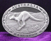 Kangaroo Australia Pewter Belt Buckle (Large)