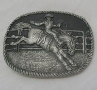 Saddle Bronc Rodeo Rider Pewter Belt Buckle