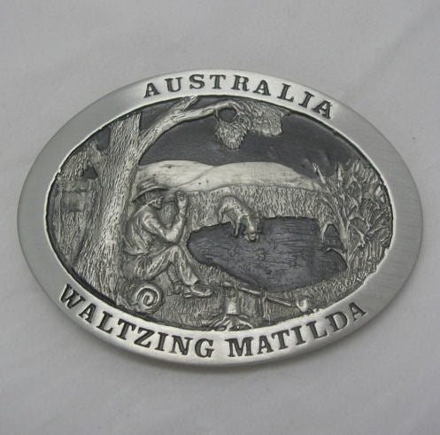 Waltzing Matilda Australia Pewter Belt Buckle