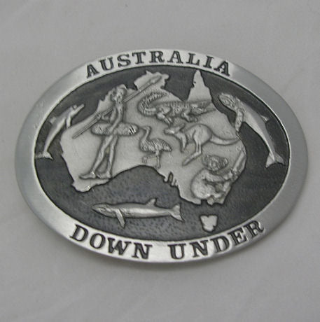 Australia Downunder Pewter Belt Buckle (Large)