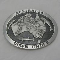 Australia Downunder Pewter Belt Buckle