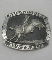 Bullriding Australia Rodeo Pewter Belt Buckle (Large)
