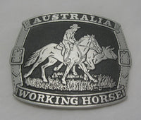 Australian Working Horse Pewter Belt Buckle (Large)