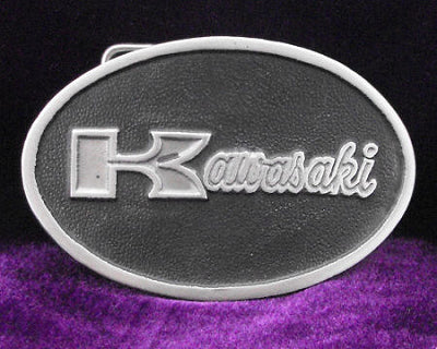 Kawasaki Motorcycle Logo Pewter Belt Buckle