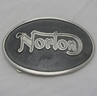 Norton Motorcycle Logo Pewter Belt Buckle