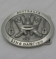 Line Dancing Australia Pewter Belt Buckle (Medium)