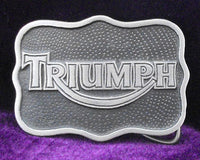 Triumph Curved Silver/Black Pewter Belt Buckle (Medium)