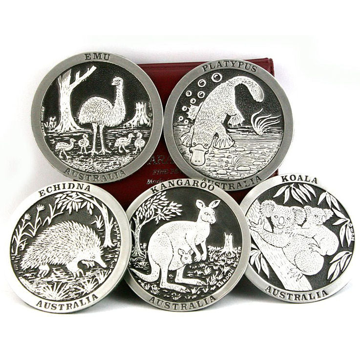 Set of 5 Native Animal Pewter Drink Coasters