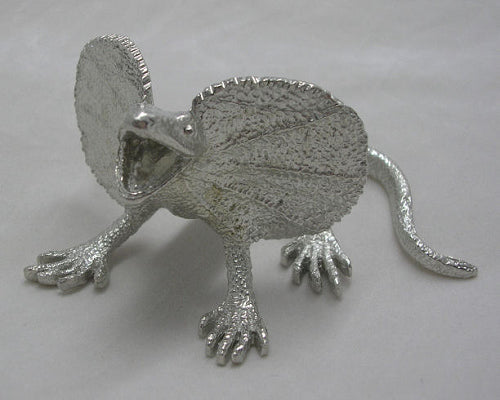 Frill Neck Lizard Pewter Figurine (Large 10cm)