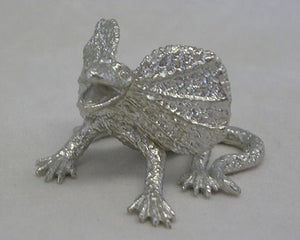 Frill Neck Lizard Pewter Figurine (Small 4cm)