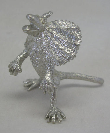 Rearing Frill Neck Lizard Pewter Figurine (Small)