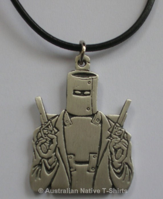 Ned Kelly Flat Pewter Pendant (Leather Necklace)