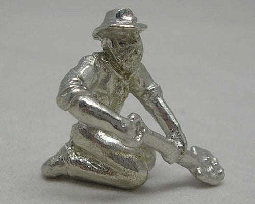 Miner Kneeling With Shovel Pewter Figurine (Small)