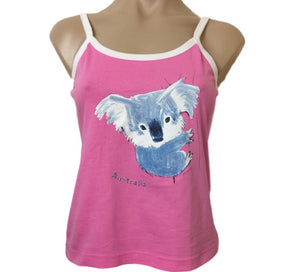 Size Medium (Petite) - Arty Koala Ladies Crop Singlet (Pink) - Free Shipping Sale