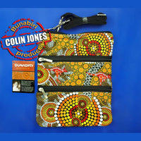 Dot Ochre 3-Zip Aboriginal Art Shoulder Bag