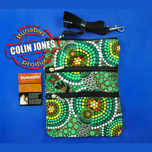 Dot Green 3-Zip Aboriginal Art Shoulder Bag